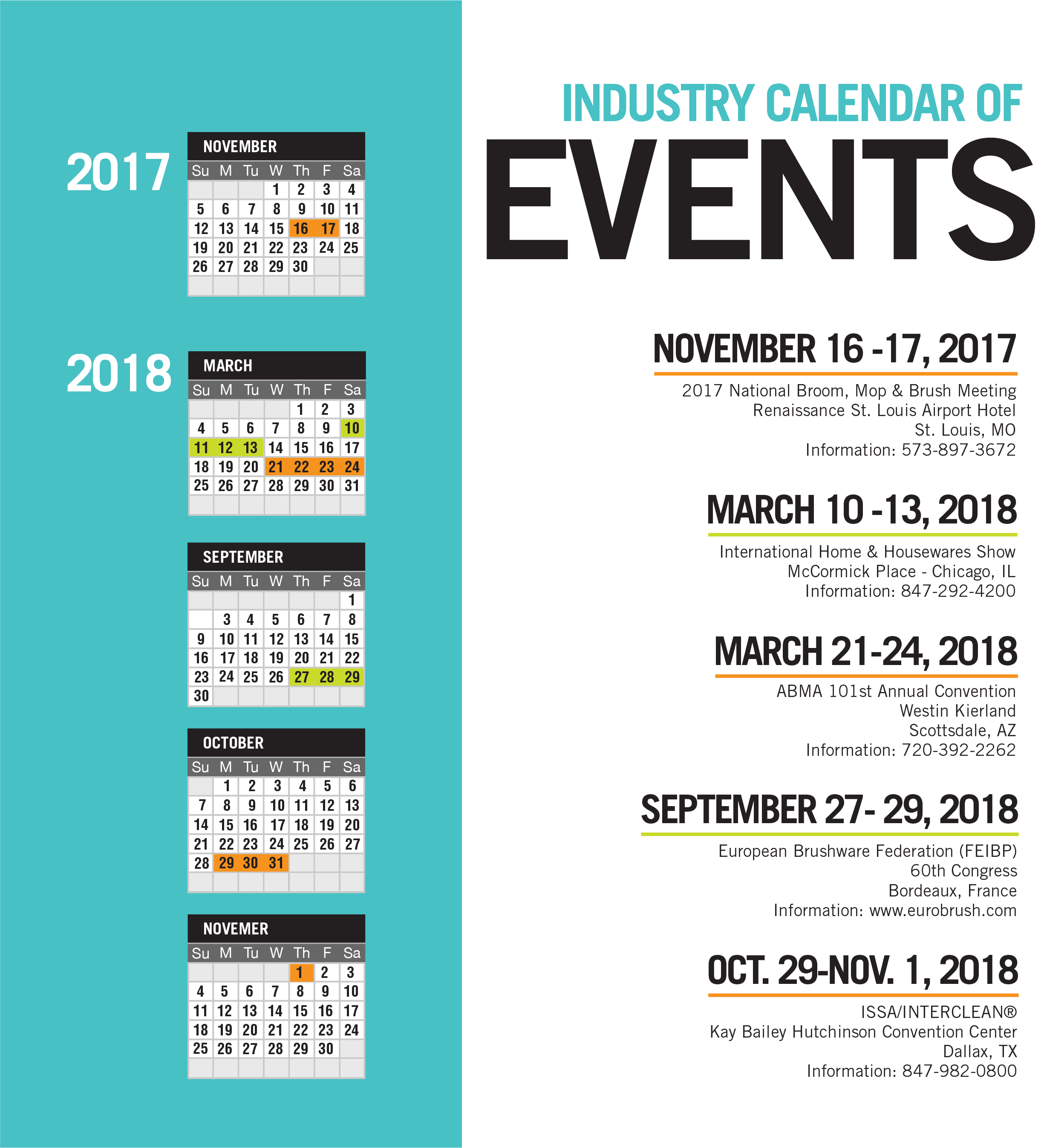 Industry Calendar of Events